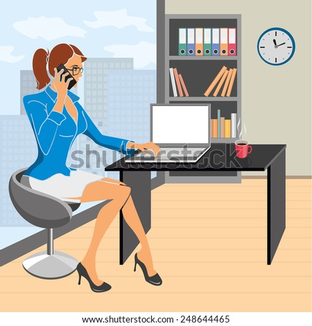 Vector illustration. Young business woman with mobile phone in hand working on a laptop in the office