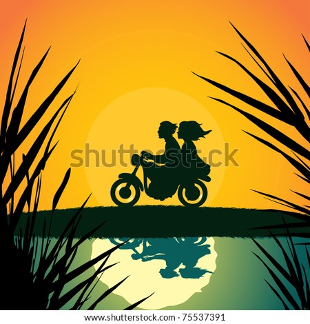 Vector illustration, young couple on motorcycle, card concept. - stock vector