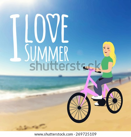 Vector illustration. Young girl rides a bicycle on the beach. Blur background. I love summer - stock vector