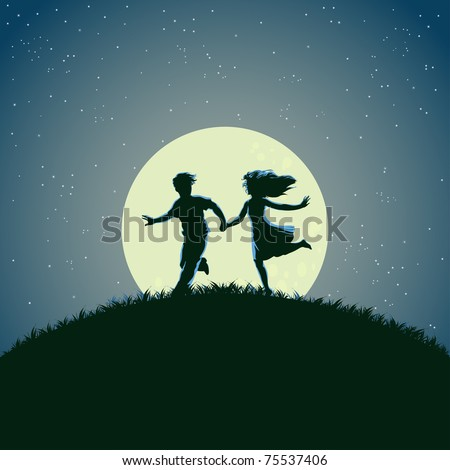 Vector illustration, young people running under the moonlight, card concept. - stock vector