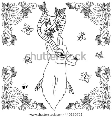 Cute Zoo Animals Vector Illustration Line Stock Vector