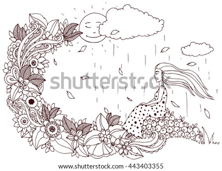 Vector illustration Zen Tangle, girl sitting on apples, is rain. Doodle flowers. Coloring book anti stress for adults. Brown and white. - stock vector