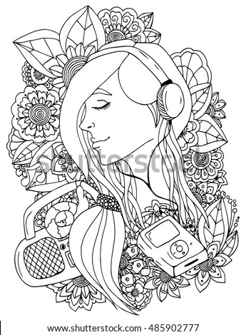 Vector Illustration Zentangl Girl Headphones Flowers Stock