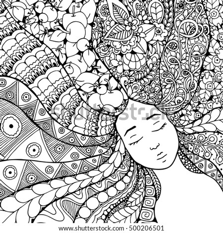Vector illustration zentangl girl with flowers in her hair. Doodle drawing. Meditative exercise. Coloring book anti stress for adults. Black and white.