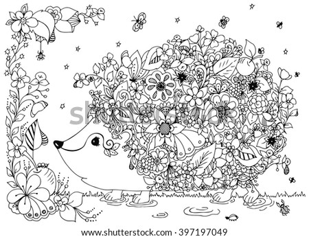 Vector illustration zentangl hedgehog with flowers. Doodle animal, forest, nature, puddle. Coloring book anti stress for adults. Black and white. - stock vector