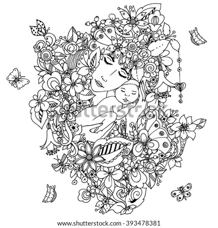 Vector illustration zentangl mother with a baby in the flowers. Woman and child dudlart, zenart, butterflies. Coloring anti stress for adults. Black and white. Motherhood.  Adult coloring books. - stock vector
