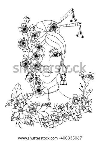 Vector Illustration Zentangl Portrait Of Japanese Women Doodle Flowers Sakura Frame Spring