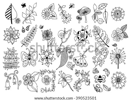 Vector illustration zentangl set of flowers, mushrooms, beetle, butterfly, apple, leaf doodle, dudling, zenart. Spring Summer. Coloring for adult anti-stress. Black and white.  Adult coloring books. - stock vector