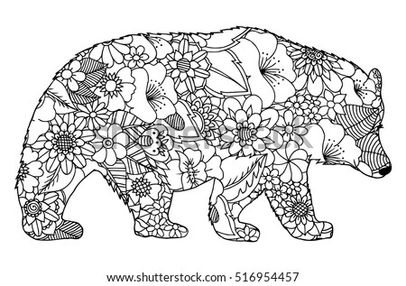 Vector Illustration Zentangl Silhouette Of Bear From Flowers Coloring Book Anti Stress