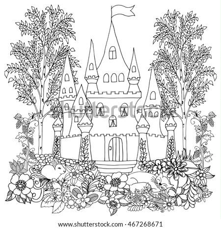 Vector Fantasy Landscape Fairy Tale Old Stock Vector