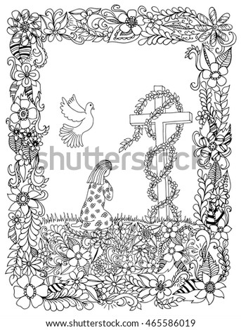 vector illustration zentangle girl kneeling in a frame of flowers coloring book anti