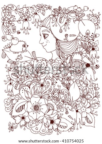 Vector illustration zentangle girl with freckles in flowers with an apple on his head. Child forest hedgehog on a leaf. Doodle drawing. Coloring book anti stress for adults. Brown and white. - stock vector