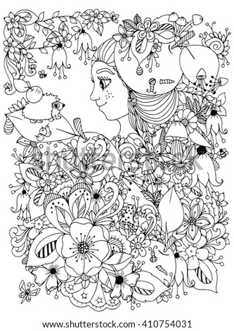 Vector illustration zentangle girl with freckles in flowers with an apple on his head. Child forest hedgehog on a leaf. Doodle drawing. Coloring book anti stress for adults. Black and white. - stock vector