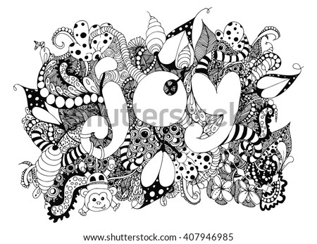 Vector Illustration Zentangle Word Joy With Patterns Doodle Drawing Monkey Kids