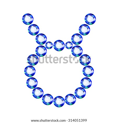 Vector illustration: Zodiac symbol Taurus made of light blue crystals  isolated on white background  - stock vector
