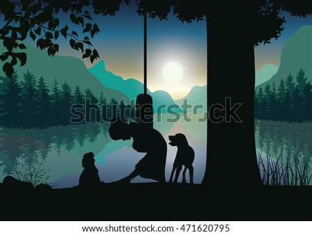 Vector illustrations, Children play with the dog under the tree