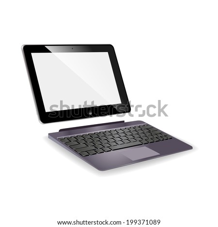 vector illustrations in turn laptop transformer on white background