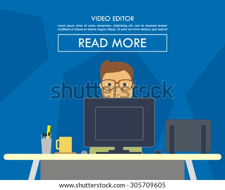 vector illustrations of a creative person working as a video editors on his desk with a computers. perfect for website image design elements or magazine, newsletter, or any other publications - stock vector