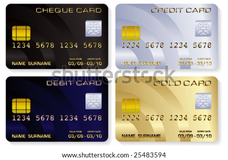 Vector illustrations of a variety of realistic looking credit cards isolated on white - stock vector