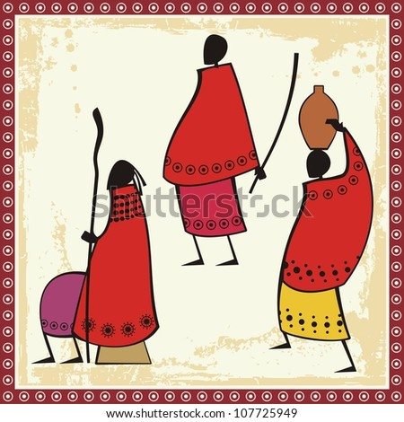 Vector illustrations of African Masai people in traditional clothing. - stock vector