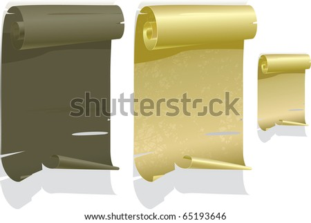 Vector illustrations of aged parchment, in the shape of a scroll. - stock vector