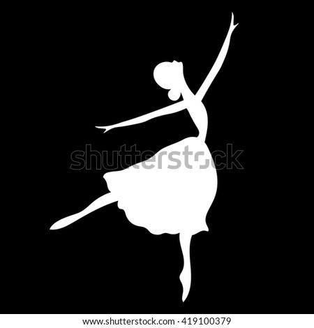 Vector illustrations of ballet icon isolated on black background. Ballet women icon.  Ballerina in dance silhouettes - stock vector