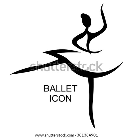 Vector illustrations of ballet icon isolated on white background. Ballet women icon. Ballet stylized symbol. Dance icon. Ballerina - stock vector