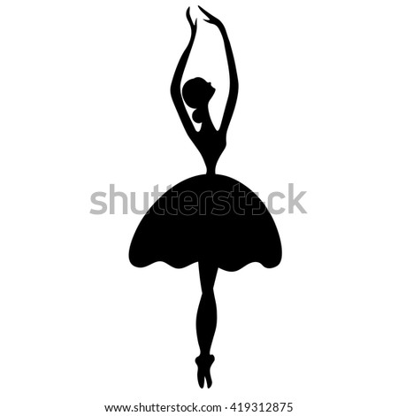 Vector illustrations of ballet icon isolated on white background. Ballet women icon. Ballet stylized symbol. Dance icon. Ballerina in dance silhouettes - stock vector