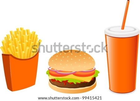Vector illustrations of burger, fries and soda.