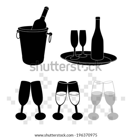 vector illustrations of champagne bottle in bucket and glasses of champagne - stock vector