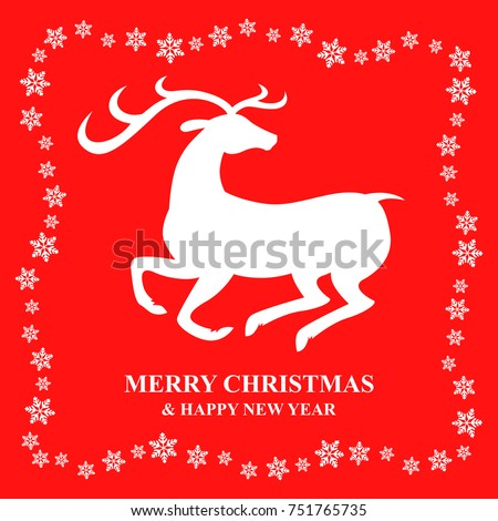Vector illustrations of Christmas congratulation banner with snowflakes and deer on red background