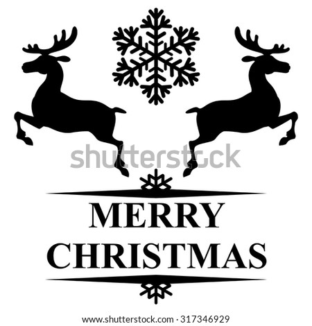Vector illustrations of Christmas congratulatory symbol reindeer and snowflakes - stock vector