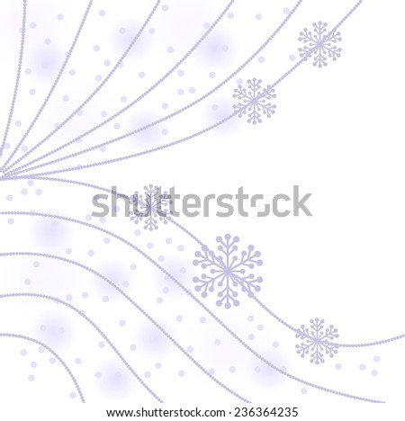 Vector illustrations of Christmas gentle background with beads garland and snowflakes - stock vector
