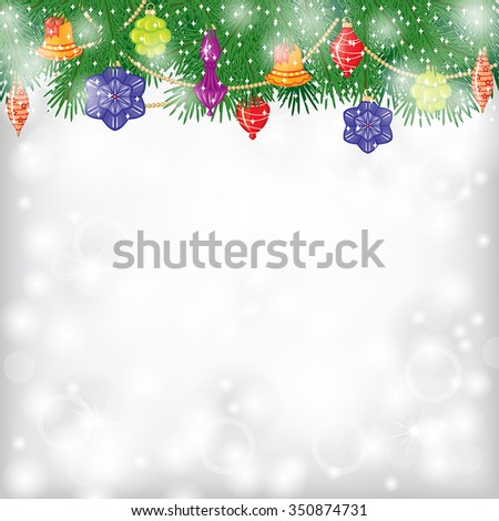 Vector illustrations of Christmas greeting card with fir branch and baubles on blur background