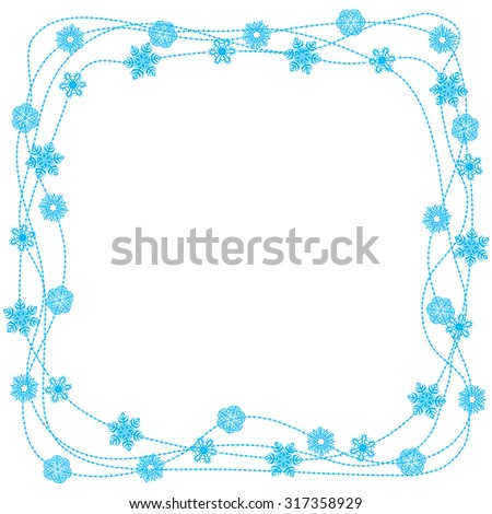 Vector illustrations of Christmas snow border on white background - stock vector