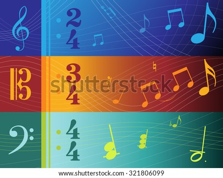 Vector Illustrations of Clef Based Banners (F, C and G Clefs) - stock vector