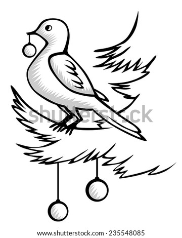 Vector illustrations of  contour Christmas contour of birds sitting on a fir branch and holding a ball in its beak - stock vector