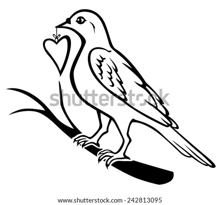 Vector illustrations of contour of birds sitting on a branch and holding in the beak gift heart - stock vector
