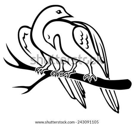 Vector illustrations of contour of pair birds sitting on a branch and hugs - stock vector