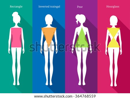 Vector illustrations of female body types white silhouettes with shadows on colored background. - stock vector