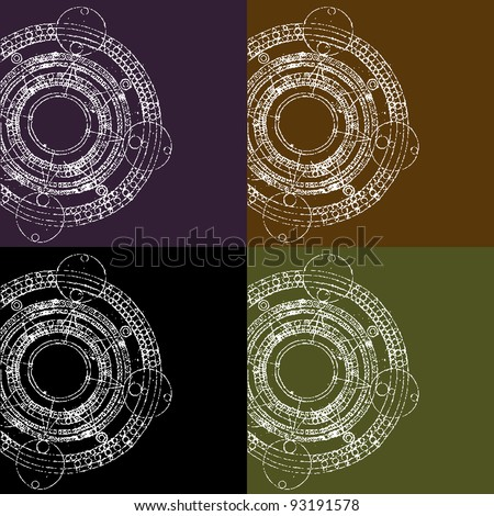 vector illustrations of grunge round maya calendars - stock vector