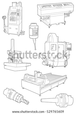 Vector illustrations of Heavy Industrial Machines and tools