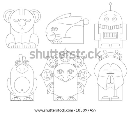 Vector illustrations of koala bear, rabbit, robot, parrot, peacock and a Japanese woman hand puppet characters - stock vector