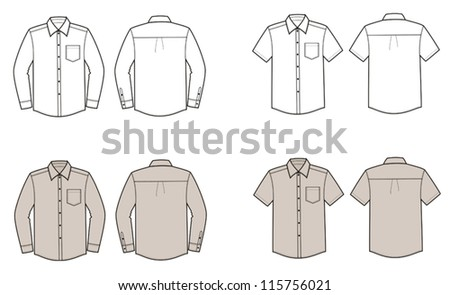 Vector illustrations of men's business shirts. Front and back views - stock vector