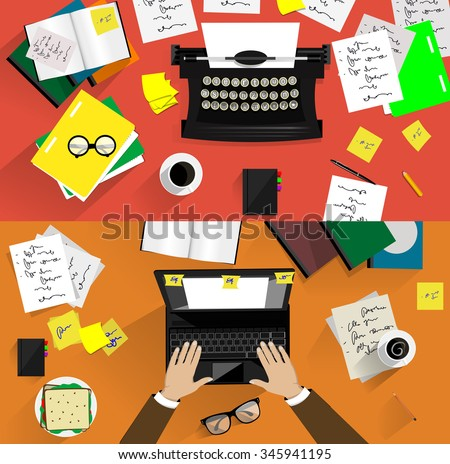 Vector illustrations of retro and modern typewriters. Concepts of writing, copy writing, screen writing, business, office work, freelance  - stock vector