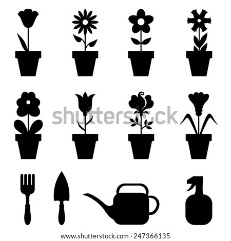 Vector illustrations of set of flowers pot icons - stock vector