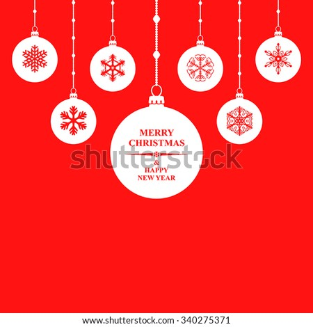 Vector illustrations of silhouette Christmas congratulatory white balls hanging on red background