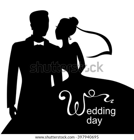 Vector illustrations of silhouette of bride and groom. Wedding day card - stock vector