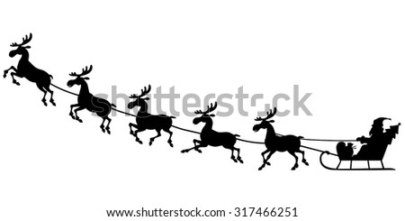 Vector illustrations of silhouette of Santa Claus sitting in a sleigh, reindeer who pull