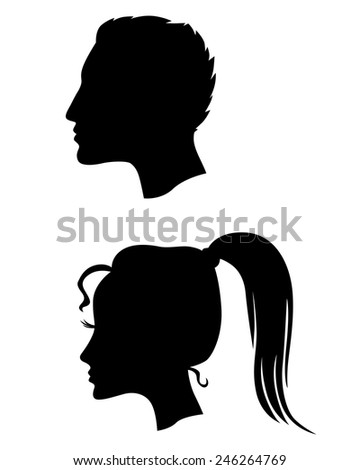 Vector illustrations of silhouette profiles of man and woman